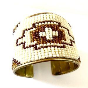 Aztec Cuff Bangle Bracelet - Brass, Beads. - Small